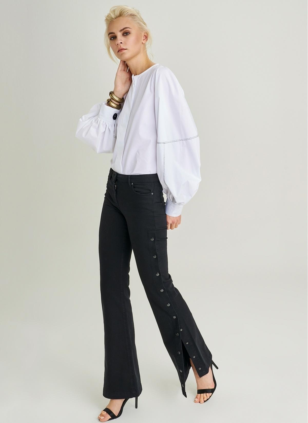 2ba3d6350daac People By Fabrika Kadın Yanları Çıt Çıt Detaylı Pantolon Siyah ...